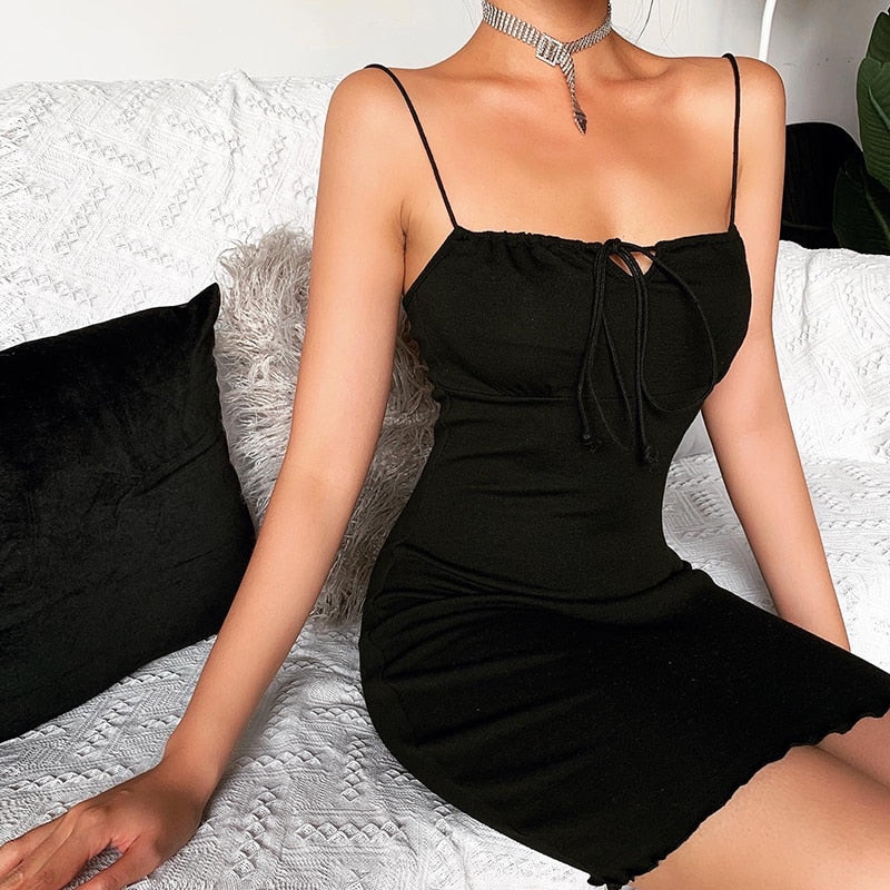 WannaThis Black Cotton Front Bandage Sleeveless Spaghetti Strap Mini Dresses Skinny Elastic Sexy Ruffles Hem Basic Summer Dress
