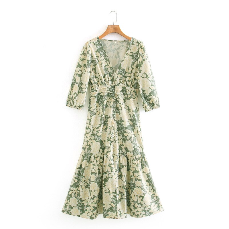 ZA Print Summer Dress Women 2020 Plus Size Puff Long Sleeve Lined Buttons Female Elegant Flounced Hem Midi Dresses Long Vestidos