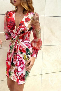 Mesh Floral Print Twisted Waist Midi Dress Elegant Night Out Bodycon Party Dress