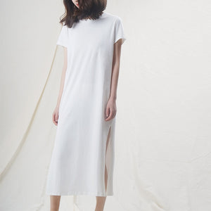 Casual Women Split Long Dress O-neck Short Sleeve Solid blue Summer Cotton T shirt Dress Sales M30465