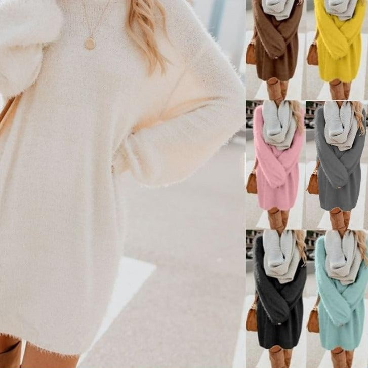 Autumn Winter Dress Women Plush Fleece Warm Midi Dress Sweater Long Sleeve O Neck Casual Loose Solid Color Sexy Party Dresses