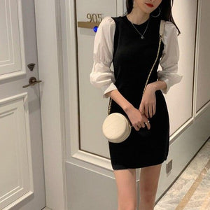 Woherb 2020 Spring Autumn Mini Party Dress Women Puff Sleeve Knit Dresses Korean Elegant Vintage Pencil Robe Vestidos De Festa