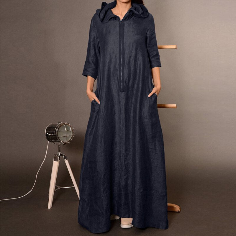 2020 ZANZEA Autumn Hooded Dress Women's Sundress Plus Size Punk Casual Zipper Long Vestidos Female Long Sleeve Tunic Robe Femme