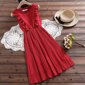 Korean Style Summer Women Chic Sundress White Red Polka Dot Sleeveless Ruffles Dress Elegant Sweet Chiffon Kawaii Pleated Dress