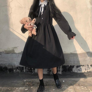 Long Sleeve Dress Women Patchwork Bow Knot Kawaii Japanese Style All-match A-line Casual Daily Womens Clothing Vintage Fashion