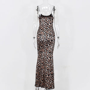 NewAsia Garden Long Summer Dress Leopard Women Vintage Animal Print Party Maxi Dress Casual Elegant Beach Dress 2020