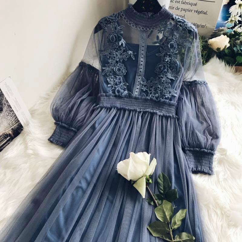New Arrivals Women Lace Flower Dress Gauze Lantern Sleeve Voile Long Dress Female Retro Hook Princess Dress 2 Piece Set