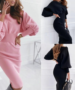 Elegant Women Spring Autumn Pencil Dress O-Neck Long Lantern Sleeve High Waist Solid Color Slim Hips Skinny Pullovers Dress