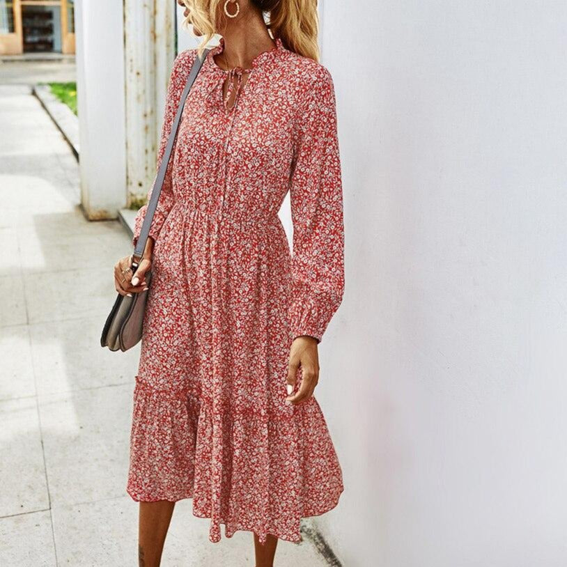 Women Long Dress Autumn Winter Ladies Long Sleeve Casual Flower Clothes 2020 Dresses For Women Fall Clothing Green