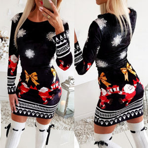 Christmas Bodycon Dresses for Women 2020 Fashion Xmas Print Woman Dress Long Sleeve Spring Autumn Clothing for Female D30