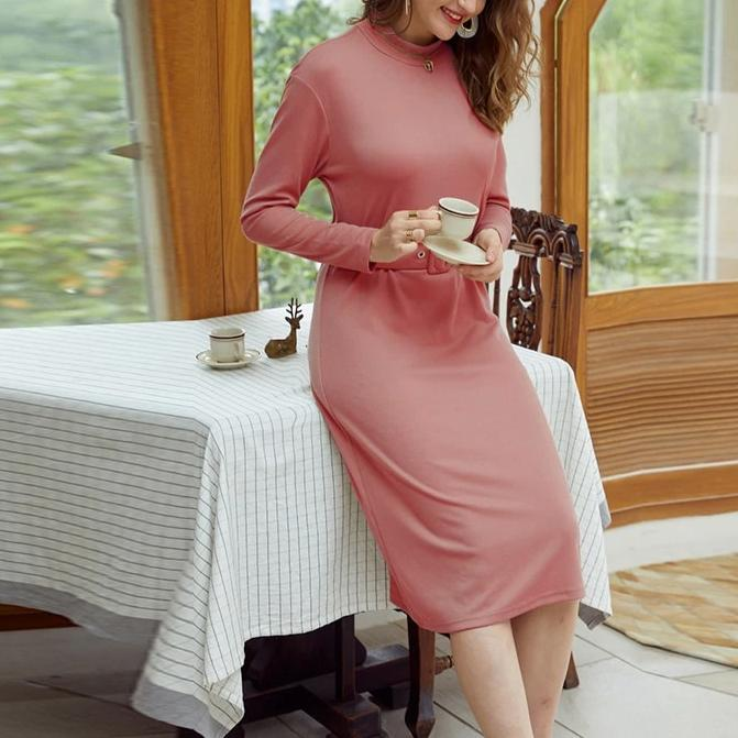 Simplee Straight Women Solid Warm Dress Knitted Long Sleeve Midi Dress Autumn Chic Streetwear Solid Belt Ladies Work Dress 2020
