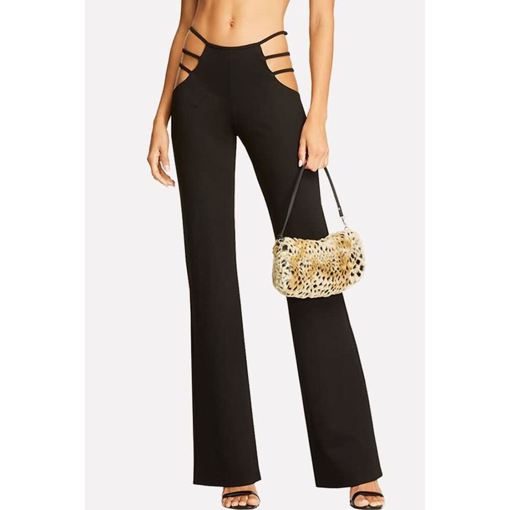 #H30 Black Hollow Waist Flare Pants Women High Elasticity High Waist Cutout Solid Strappy Casual Bell-Bottomed Pants 2020