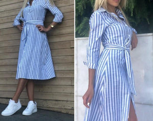 2020 Women Casual Blue Striped Sashes Dress Lady Long Sleeve Turn-Down Collar A-line Party Dress Vintage Summer Women Dresses