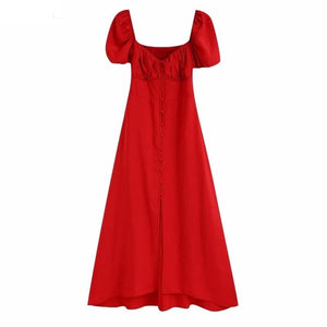 2020 women vintage puff sleeve single breasted red midi dress female back elastic casual slim vestidos chic party dresses DS3877