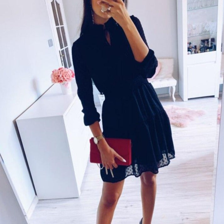 NANKEY Black lace up hollow out mini dress women vestidos Long sleeve elastic waist sexy party christmas dresses summer dress