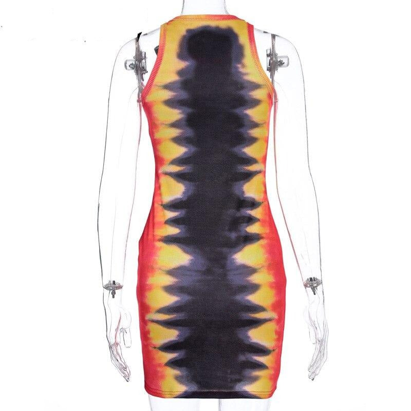 ALLNeon Punk Tie Dye Sleeveless Graphic Mini Dresses Ribbed O-neck Tiger Printing Bodycon Party Dress E-girl Rave Summer Dresses