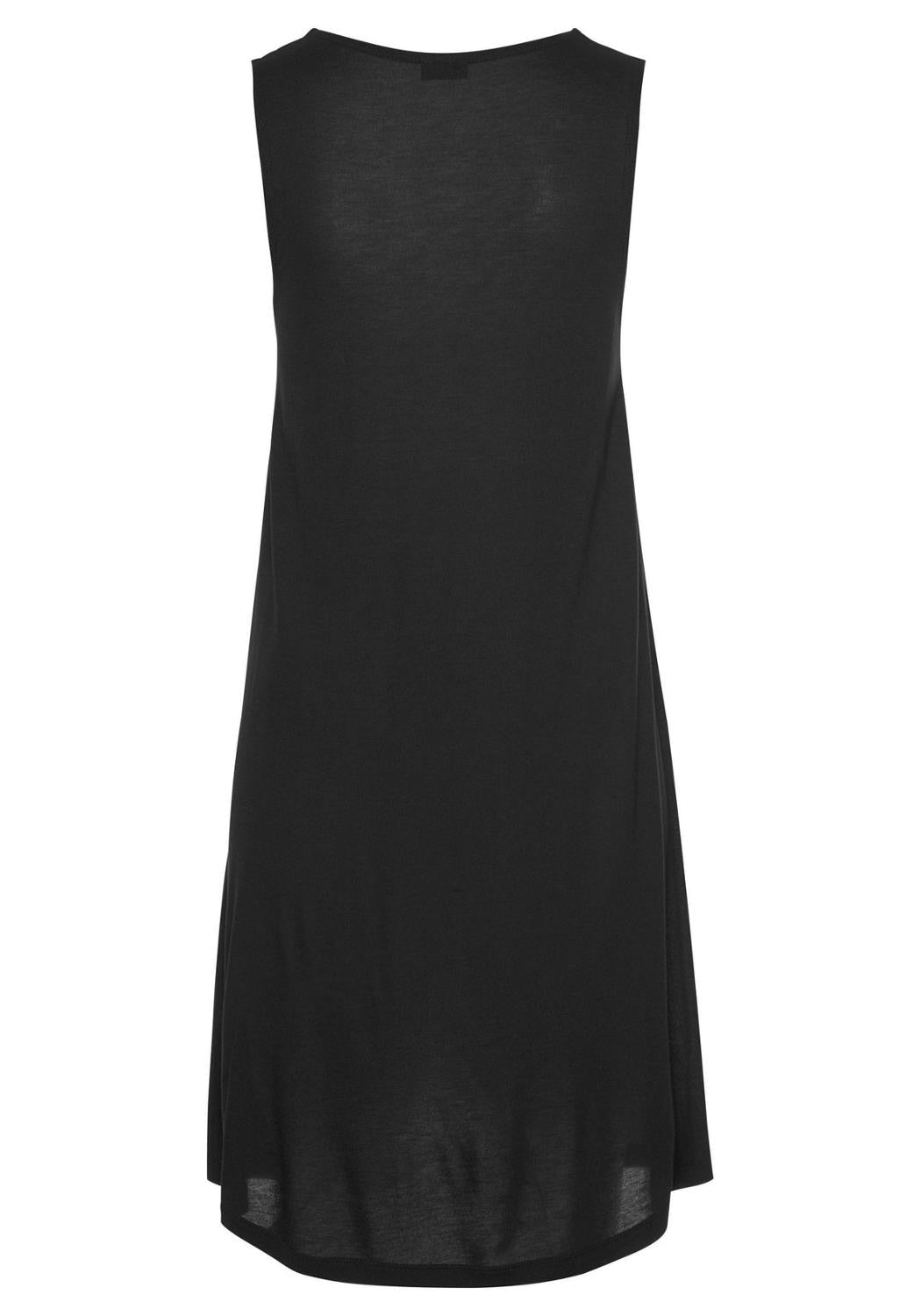 Black Beach Style Keyhole Neckline Dresses Women Summer Casual Solid Hollow Out O-Neck Tank Sleeveless A Line Sexy Mini Dress