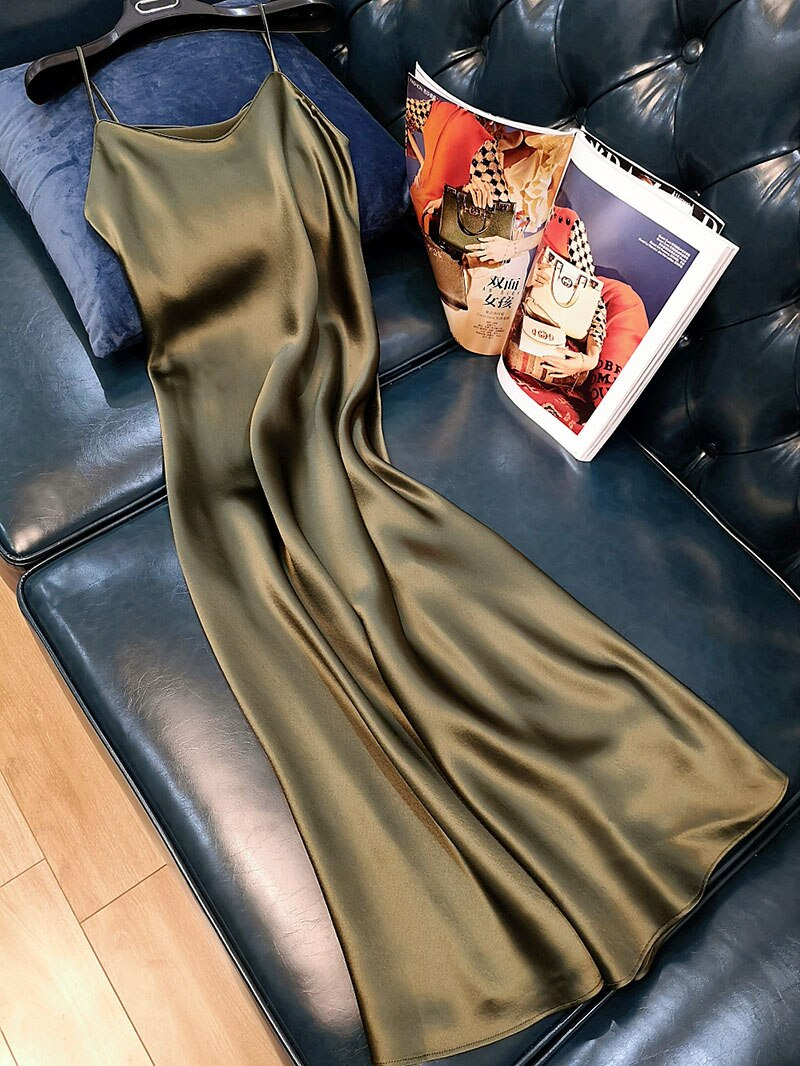 Ordfree 2020 Summer Women Long Slip Dress Spaghetti Strap Elegant Lady Sexy Satin Party Dress Plus Size