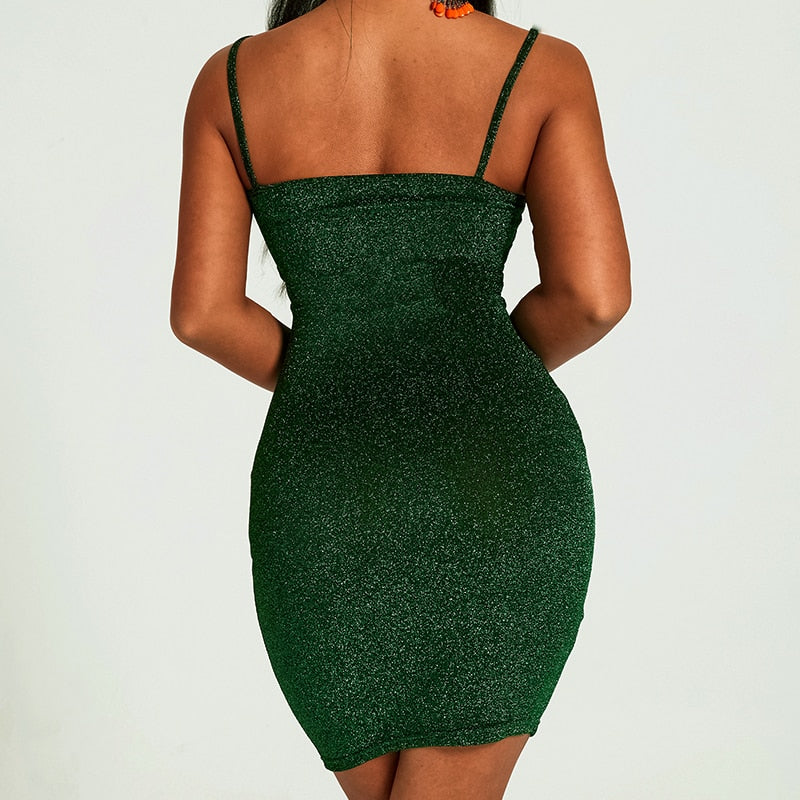 Sexy Sequins Dress Women Side Split Backless Bodycon Dresses 2020 Summer Sexy Party clubwear Dress