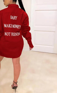 Women Loose Style Casual Long Sleeve Letter Printed Mini Solid Shirt Dress