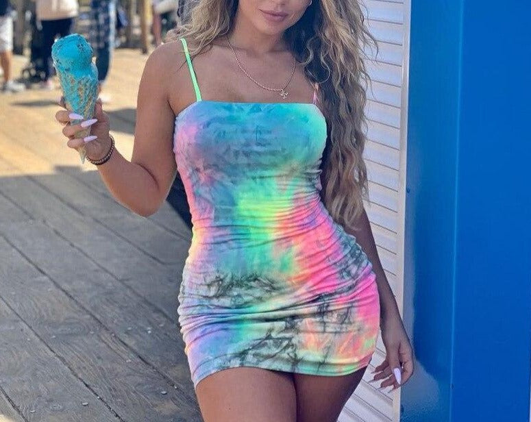 2020 Brand New Women Female Sling Sleeveless Slash Neck Tie Dyeing Print Bodycon Short Mini Pencil Dress for Party Cocktail Club