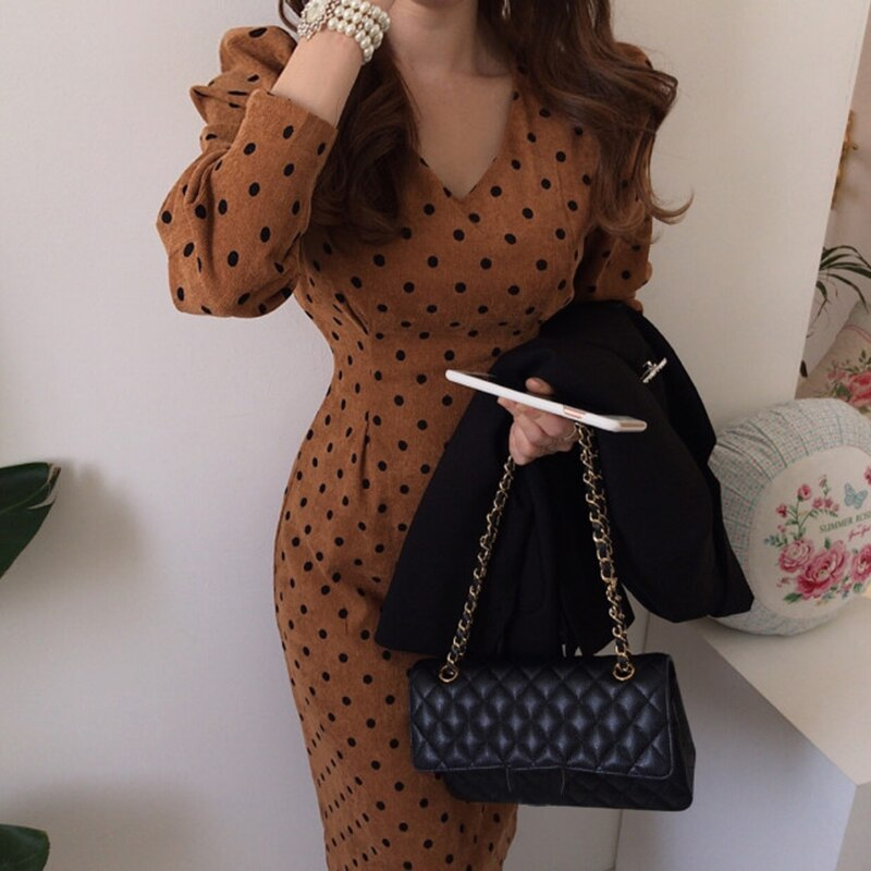Gaganight Vintage Elegant Polka Dot Women Long Dress Spring Autumn New Fashion Long Sleeves Dresses V Neck Slim Lace Up Vestidos
