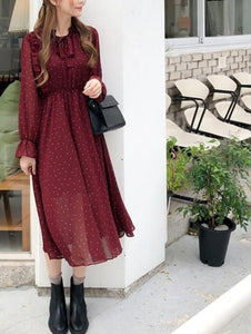 BGTEEVER Vintage Lace Up Printed Dress Women Ruffles Chiffon Female Maxi Dress Lining Elegant Party Vestidos femme 2019 Autumn