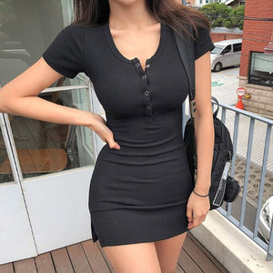 new buttons Summer Dress Black white Short Sleeve mini Dress Women Casual Slim High Elastic Bodycon Sexy Party Dresses Vestidos