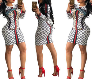 Fashion Printed Long Sleeve Sexy Dress Geometric Ladies Nightclub Party Dress Streetwear Casual Women Dress White Dropshipping
