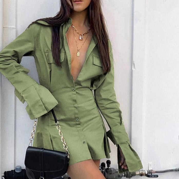 Mnealways18 Pleated Shirt Dress White Women Flare Sleeve Elegant Office Dress Summer Green Tunic Casual Dress Mini Spring 2020