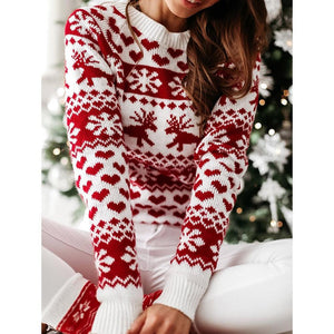 Women's O Neck Elk Snowflake Christmas Xmas Pullover Sweater knit Mini Dress Winter Warm Knitted Dress Casual Patchwork Sweater