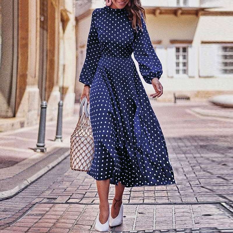 Boho Lantern Sleeve Polka Dot Printed Long Dress Women Elegant Vintage Stand Collar Long Sleeves Autumn Dress Plus Size
