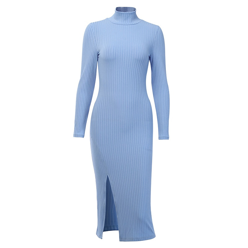 WannaThis Sexy Knee-Length Party Dresses Cotton Ribbed Knitted Turtleneck Solid Split Long Sleeve Autumn Mock Neck Elegant Dress