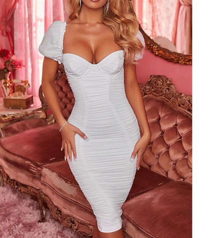 FANTOYE Strapless Sexy Summer Dress Women Elegant Short Sleeve Ruched Bodycon Party Dress Female Double fabric Split Club Dress