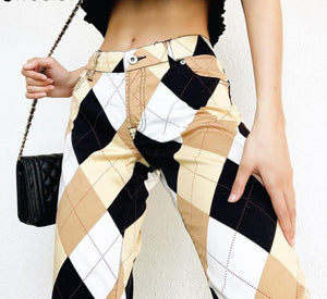 Sweetown Plaid Multi Color Block Cargo Pants Women Vintage 90s Baggy Joggers Women Streetwear High Waist Straight Y2K Trousers