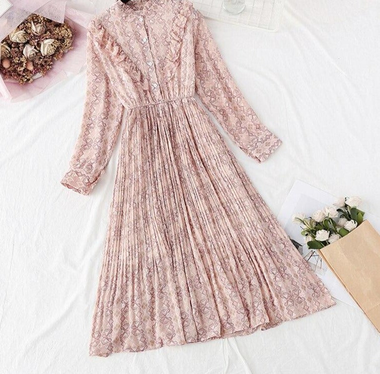 BGTEEVER Elegant Stand Collar Ruffles Women Dress Long Sleeve Plaid Female Chiffon Pleated Dress 2020 Spring Vestidos femme