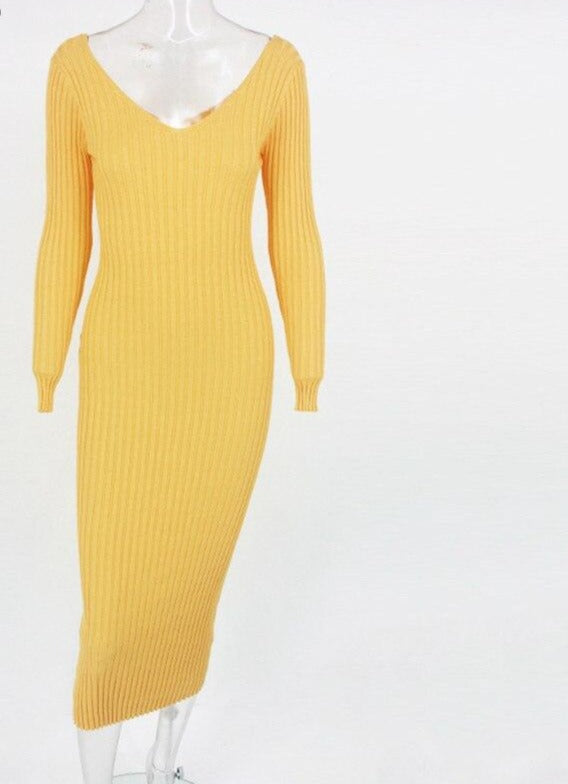 Sibybo Winter Ribbed Knitted Cotton Dress Women Off Shoulder Long Sleeve Sexy Bodycon Dresses Elastic Slim Party Vestidos 2020
