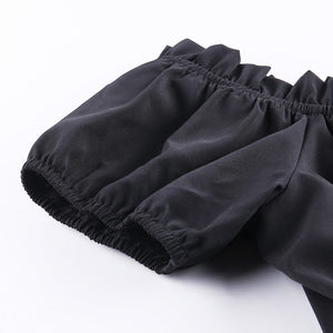 InsGoth Sexy Off Shoulder Black Dresses Gothic Harajuku High Waist Dress Summer Mini A-line Solid Black Casual Dresses