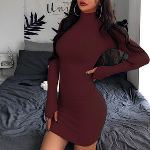 InstaHot Turtleneck Long Sleeve Skinny Mini Dress Women Autumn Sexy Sporting Style Dresses 4 Color Bodycon Slim Yellow Clubwear