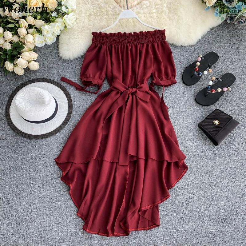 Woherb Summer Casual Chiffon Off Shoulder Bandage Dress Women 2020 Sexy Asymmetrical Ruffle Dresses Vestidos De Festa 22291