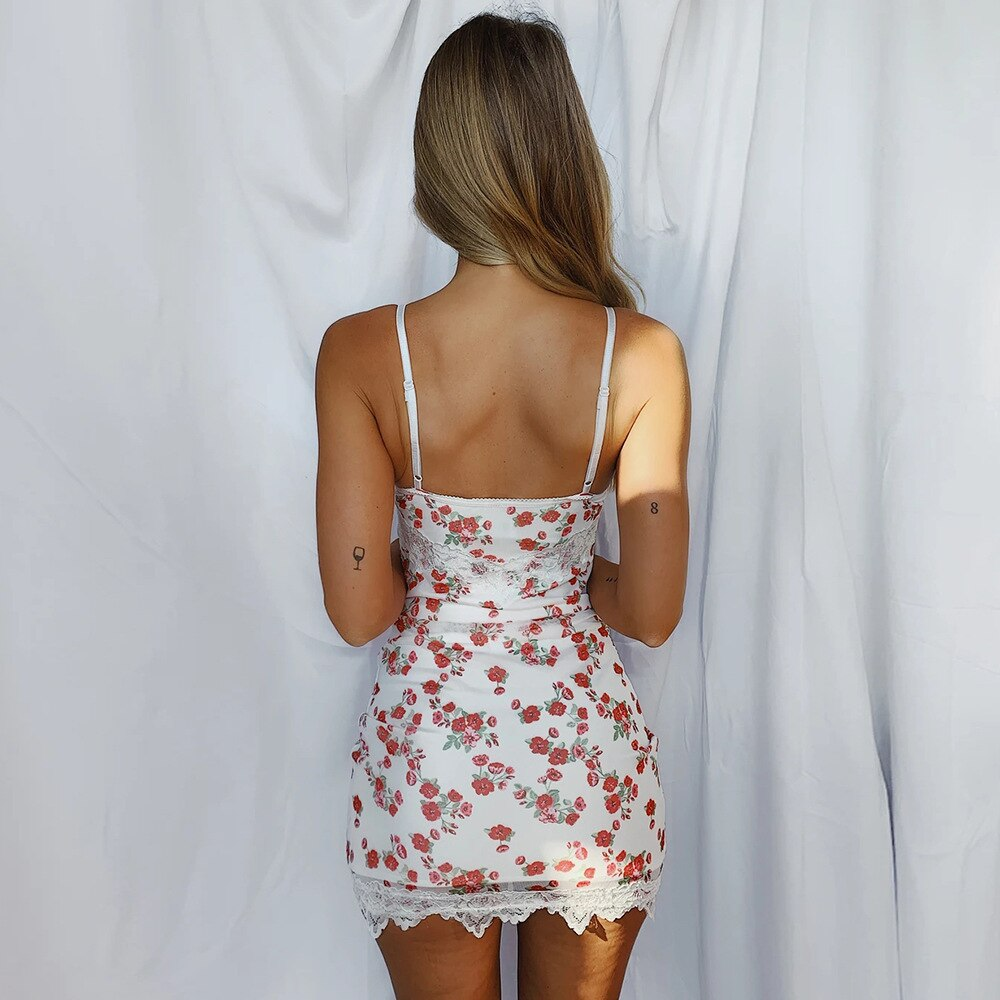 Cryptographic Floral Print Holiday Lace Sexy Slip Dress Summer Fashion Outfits Backless Sleeveless Sundress Bodycon Vestidos