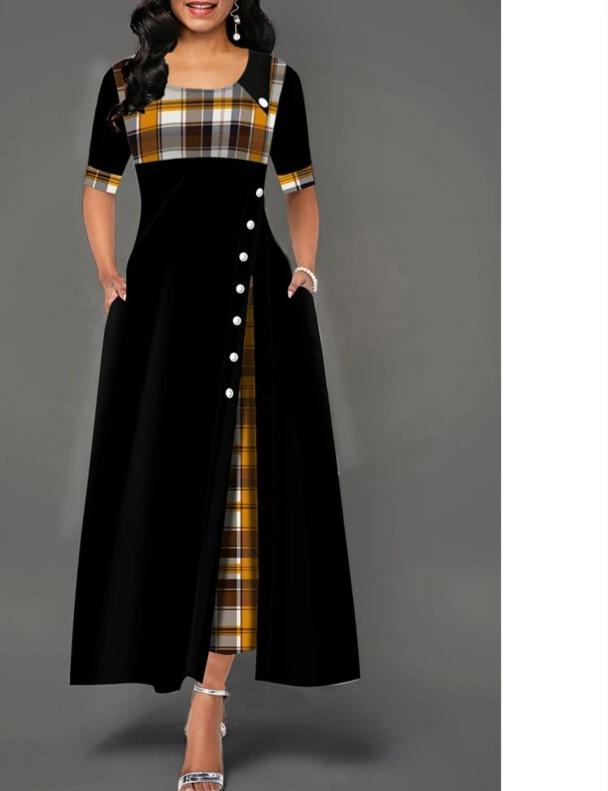 Plus size 4xl 5xl Women Elegant Long Dress Patchwork Plaid Print Party Dresses Irregular Ladies Vintage Button A-Line Dress
