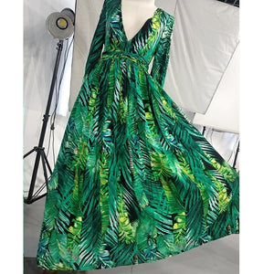 AECU Vestido Floral Print Boho Maxi Dress Sexy Lady Bohemian Summer Long Dress Women Beach Dresses Female robes Christmas