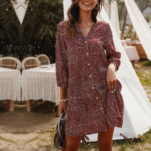 2020 New Casual Summer Dress Women Single Breasted Print Above Knee Mini V-neck Three Quarter Sleeve Dress