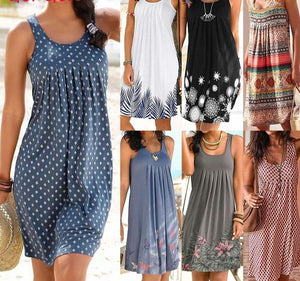 Summer Dresses For Women O-Neck Plus Size Sundress Long Party Sexy Print Vintage Sleeveless Dress Korean Fashion Female Clothing