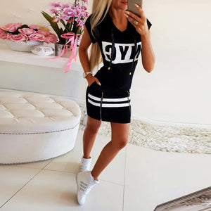 2020 Hooded Women Summer Dress Short Sleeve Letter Print Zipper Hoodies Lady Dress Fashion Female Thin Mini Dress vestidos