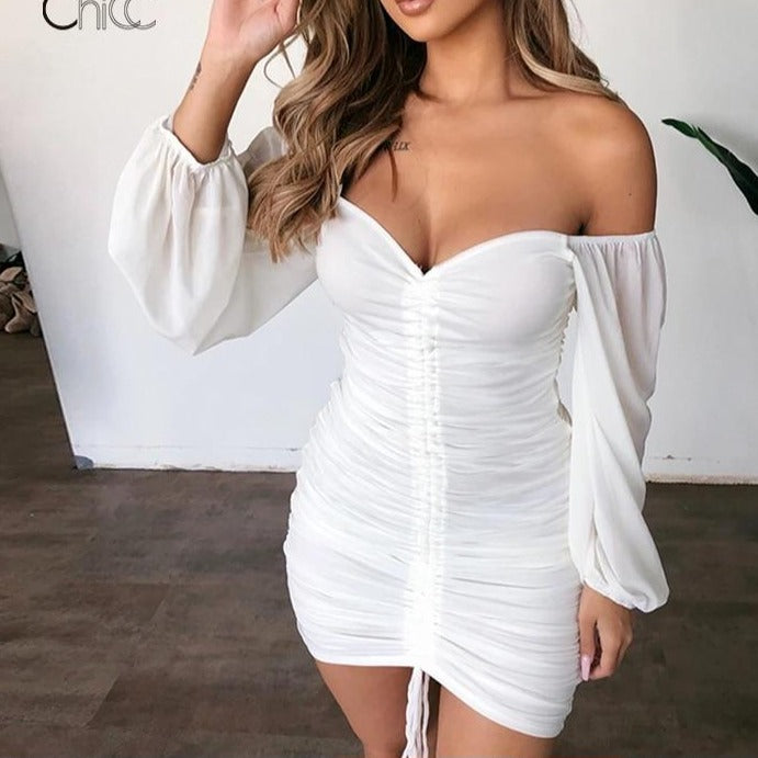 Justchicc White Summer Dress Women Pleated Bodycon zipper Club Party Sexy Dresses long Sleeve Mini Elegant Dress Vestido Bandage