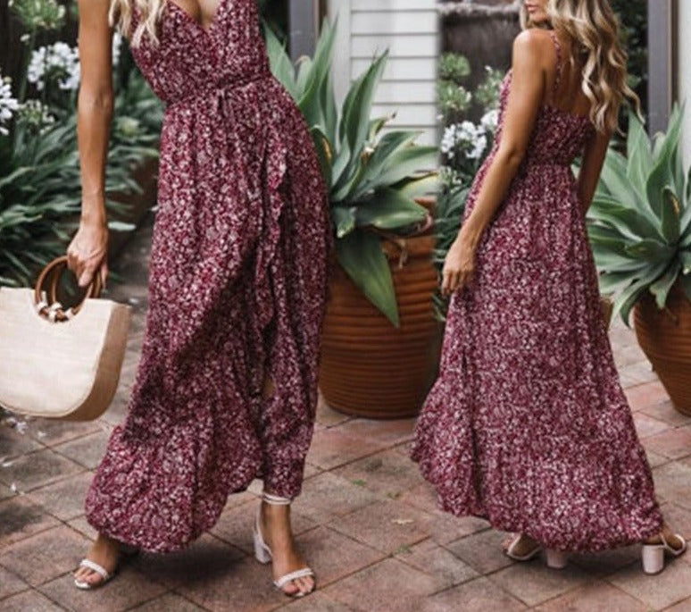 BEFORW 2020 Sexy Print Ruffles Mid Summer Dress Women Casual Party Dress Strapless Print Beach Bohemian Long Dress Vestidos