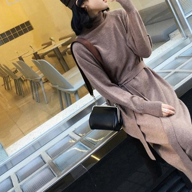 Sweater Long Dress With Sashes Women Knitted Turtleneck Dress Autumn Winter Warm Knit Female Dress Loose Midi Vestidos Dresses