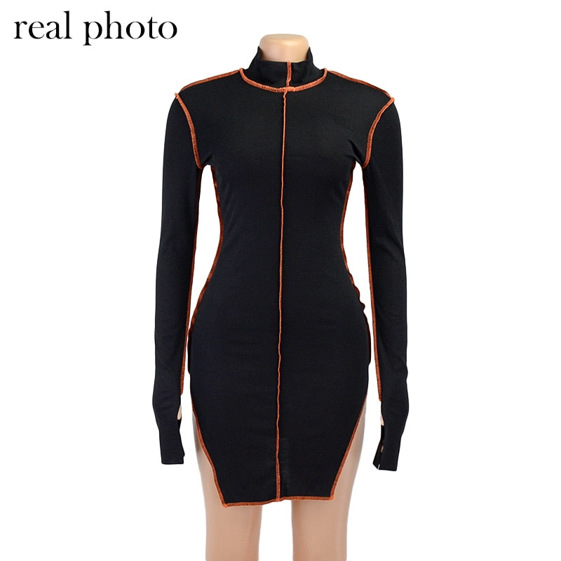 Simenual Side Slit Patchwork Women Casual Dresses Long Sleeve Athleisure Fashion 2020 Bodycon Mini Dress Slim Sporty Clothing
